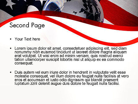 globe and usa flag powerpoint template backgrounds 11843