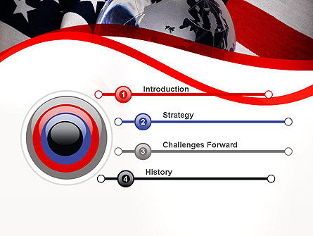 Globe and USA Flag PowerPoint Template, Slide 3, 11843, America — PoweredTemplate.com