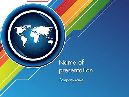 Global: World Map and Colorful Stripes PowerPoint Template #11871