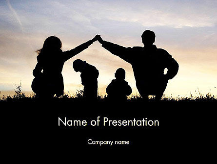 People: Silhouet Van De Familie PowerPoint Template #11872