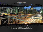 Construction: Brooklyn Bridge New York PowerPoint Template #11876