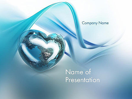 Heart Globe PowerPoint Template, 11883, Global — PoweredTemplate.com