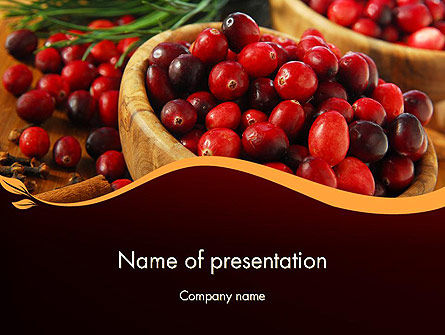 Cranberries PowerPoint Template, 11888, Food & Beverage — PoweredTemplate.com