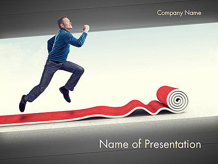 Man Running On Rolling Red Carpet PowerPoint Template