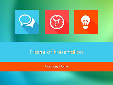 Flat Icons with Shadow PowerPoint Template, 11896, Art & Entertainment — PoweredTemplate.com
