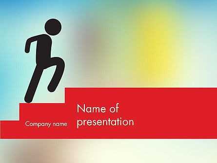Stickman Walking Upstairs PowerPoint Template