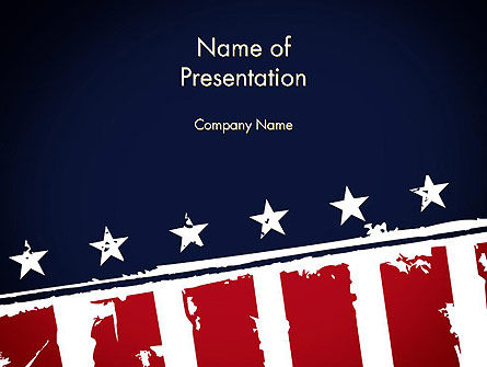USA Flag Theme PowerPoint Template, 11920, America — PoweredTemplate.com
