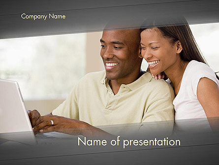 People: Couple on Laptop PowerPoint Template #11945