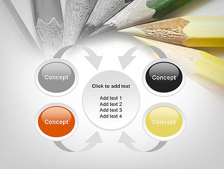 Pencils Arranged in Circle PowerPoint Template Slide 6