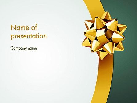 Holiday/Special Occasion: Gold Ribbon PowerPoint Template #11979