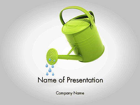 Watering Can Pouring Water PowerPoint Template, 11986, Business Concepts — PoweredTemplate.com