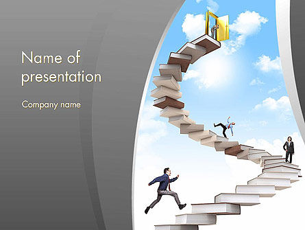 People On Book Stair PowerPoint Template