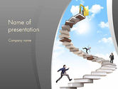 Education & Training: People On Book Stair PowerPoint Template #12008