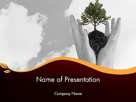 Hands Holding a Bonsai Plant PowerPoint Template, 12036, Education & Training — PoweredTemplate.com