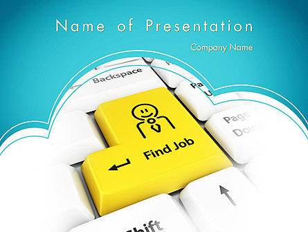 Careers/Industry: Find Job Button PowerPoint Template #12049