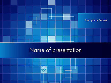 Glowing Blue Grid PowerPoint Template, 12050, Abstract/Textures — PoweredTemplate.com