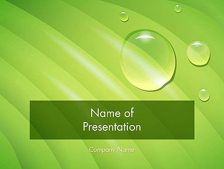 Nature & Environment: Water Drops on Leaf PowerPoint Template #12074