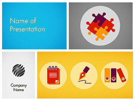 Presentation with Flat Icons PowerPoint Template