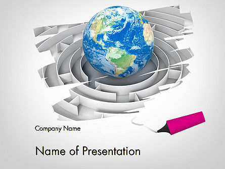 Earth in Maze PowerPoint Template, 12095, Global — PoweredTemplate.com