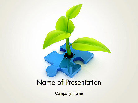Sprout on Blue Jigsaw Puzzle PowerPoint Template