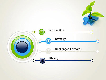Sprout on Blue Jigsaw Puzzle PowerPoint Template Slide 3