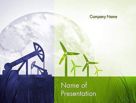 Renewable vs Nonrenewable Energy PowerPoint Template, 12142, Nature & Environment — PoweredTemplate.com