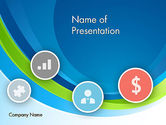 Financial/Accounting: Abstract Waves with Flat Icons PowerPoint Template #12159