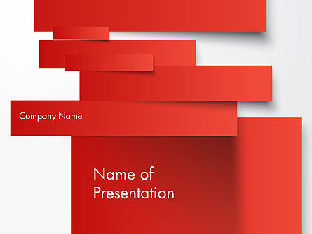 Business Concepts: Cut Strips of Red Paper PowerPoint Template #12162