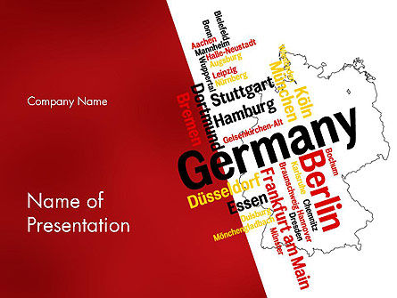 Germany Map and Cities Word Cloud PowerPoint Template, 12177, Flags/International — PoweredTemplate.com