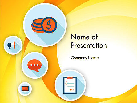 Flat Icons on Yellow PowerPoint Template, 12195, Business — PoweredTemplate.com