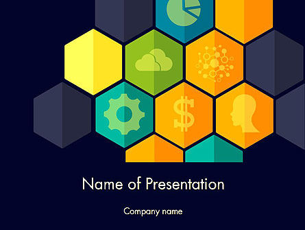 Business Concepts: Hexagons with Icons PowerPoint Template #12199