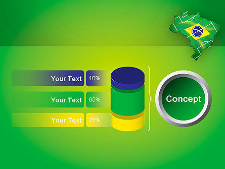 Brazil Flag Map with Football Field PowerPoint Template Slide 11