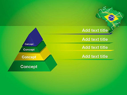 Brazil Flag Map with Football Field PowerPoint Template Slide 12