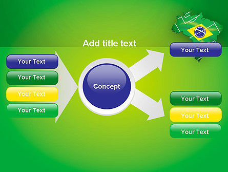 Brazil Flag Map with Football Field PowerPoint Template Slide 14