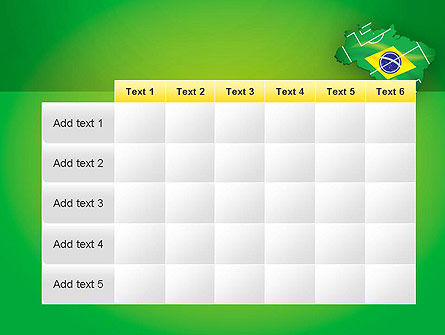 Brazil Flag Map with Football Field PowerPoint Template Slide 15
