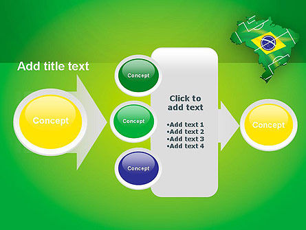 Brazil Flag Map with Football Field PowerPoint Template Slide 17