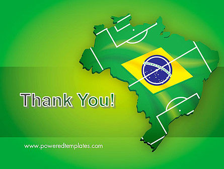 Brazil Flag Map with Football Field PowerPoint Template Slide 20