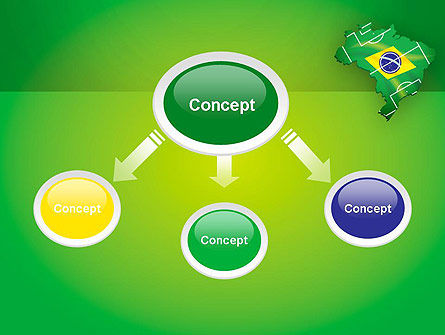 Brazil Flag Map with Football Field PowerPoint Template Slide 4