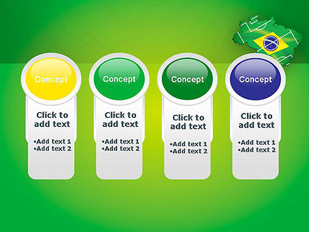 Brazil Flag Map with Football Field PowerPoint Template Slide 5