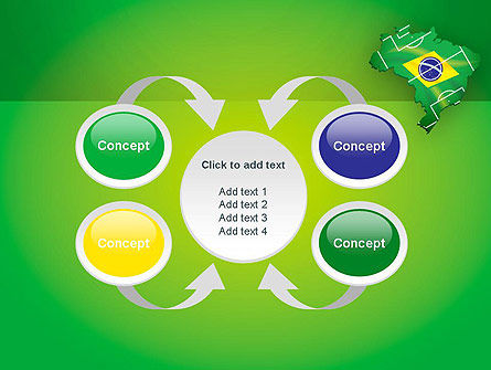 Brazil Flag Map with Football Field PowerPoint Template Slide 6