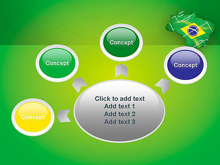Brazil Flag Map with Football Field PowerPoint Template Slide 7