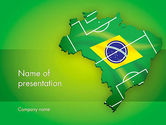 Flags/International: Brazil Flag Map with Football Field PowerPoint Template #12200