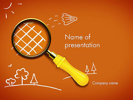 Racket with Magnifying Glass PowerPoint Template