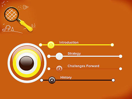 Racket with Magnifying Glass PowerPoint Template, Slide 3, 12201, Education & Training — PoweredTemplate.com