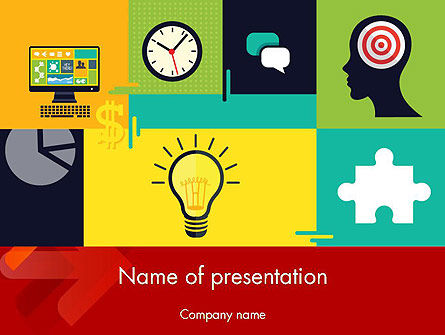 Business Concepts: Flat Design Infographic Symbols PowerPoint Template #12203
