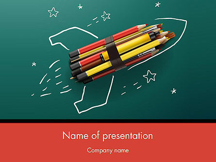 Rocket Ship Launch Made with Pencils PowerPoint Template, 12207, Education & Training — PoweredTemplate.com