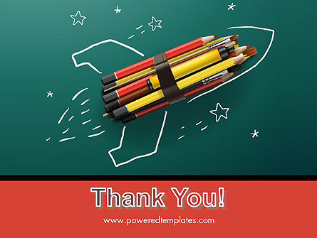 Rocket Ship Launch Made with Pencils PowerPoint Template Slide 20