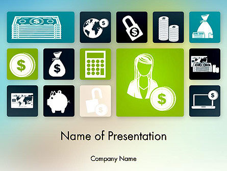 Finance Related Icons PowerPoint Template