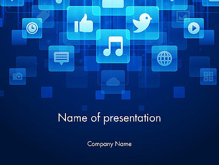 Technology and Science: Social Media Icons on Blue Background PowerPoint Template #12238