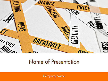 Paper Strips with Project Related Words PowerPoint Template